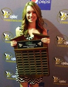 Sydney Roy is honoured as top female athlete at UNBC.